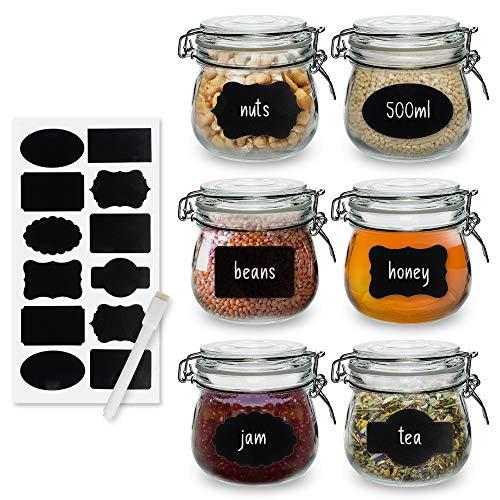Einmachgläser mit Bügelverschluss und luftdicht verschlossener Behältnisse mit Drahtclipbefestigung für Getreide, Nudeln, Zucker, Kaffee, Gewürze, Mehle, Kekse oder Trockenware - 500 ml (6er-Set)