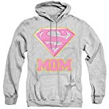Superman Super Mom Pink Unisex Adult Pull-Over Hoodie, Athletic Heather, Large