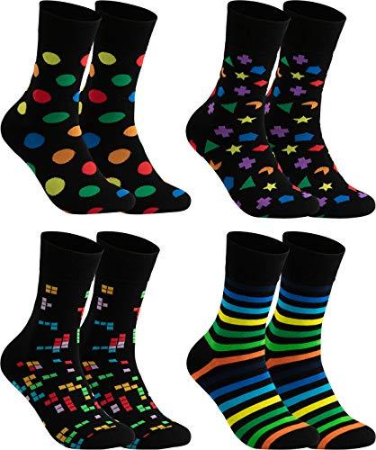 gigando Pack 4 Paar hochwertige schwarze Socken aus Baumwolle mit modernen bunten Motiven, Punkte, Streifen, Formen, Bausteine-Socken mit weichem B&, ohne Naht an den Zehen, 39-42