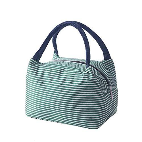 KonJin Isolierte Lunch Bag Cool Bag für Lunch Boxes Gestreiftes Wasserdichtes Gewebe Faltbare Picknick-Handtasche für Frauen, Erwachsene, Studenten und Kinder 26.5cm x 23cm x 15cm