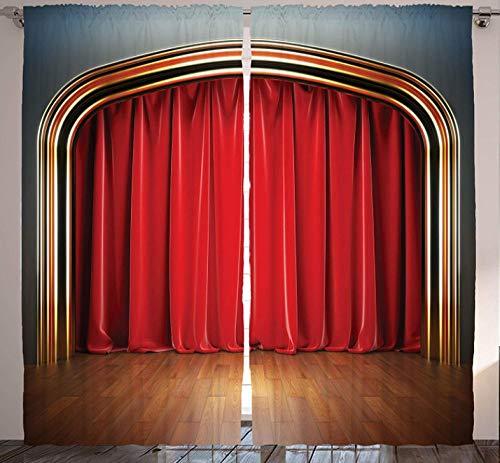 KXGZ Cortinas Opacas Telón De Teatro Rojo Cortinas Opacas Ojales Tela Aislante Termica Cortinas Termicas Aislantes Frio Y Calor Dormitorios Juveniles Infantiles 140x160cm(Ancho x Alto)