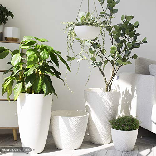 Tree Planter 20 inch Modern White Flower Pots with Drainage Holes
