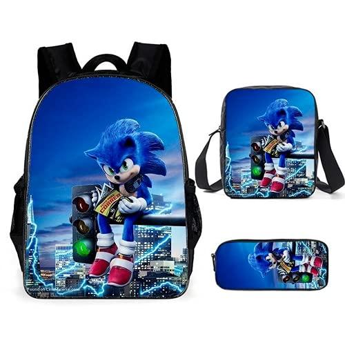 Sonic The Hedgehog - Mochila infantil de dibujos animados, impermeable, resistente a la abrasión, a la moda, 3 piezas, Sonic10, 16',