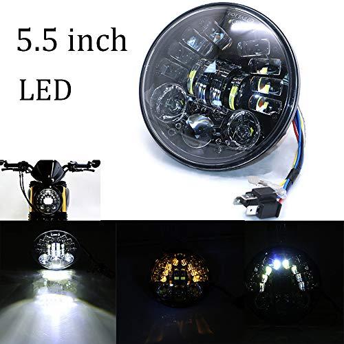 JZWDMD 5.5 Zoll LED Runde Scheinwerfer Wasserdichter Angel Eye Ring DRL & Bernsteinfarbener Blinker H/L-Strahl für Wrangler Harley Davidson