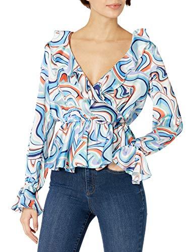 KENDALL + KYLIE Camiseta cruzada con detalles de volante y estampado de garabatos, Estampado de garabatos Newton, S para Mujer