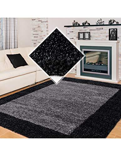 Carpet 1001 Tapis de Salon Shaggy Poils Longs Poils Longs Deux Couleurs et Tailles différentes - Anthracite, 120x170 cm