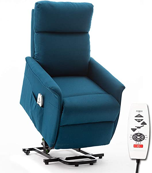 ERGOREAL Lift Chair Heat And Massage Recliner Electric Power Lift Recliner For The Elderly Blue Green