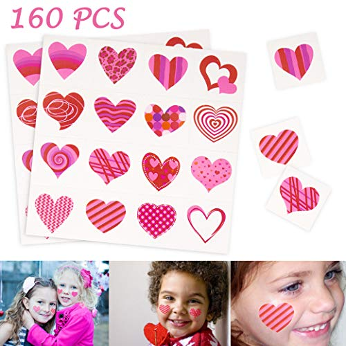 Moon Boat Valentine's Day Tattoos for Kids - Heart Assorted Temporary School Gifts Prizes Party Favors 160PCS