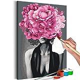 murando - Malen nach Zahlen Frau Blumen Abstrakt 40x60 cm Malset mit Holzrahmen auf Leinwand für Erwachsene Kinder Gemälde Handgemalt Kit DIY Geschenk Dekoration n-A-1048-d-a