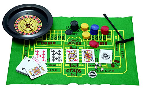 5 in 1 Casino Games Set Roulette,Poker, Black Jack, Craps, has Chips,Mats, Dices, Cards,