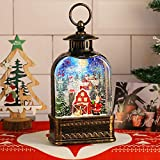 Cardinal Redbird Christmas Snow Globe Water Lantern, LED Lighted Musical Water Globe Lantern, Clear Globes Water Lamp, and Santa Decoration (Santa in The Red Village Giving Gifts)