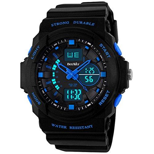 BesWLZ Kinder und Jugendliche Uhr Analog-Digital Quarz mit Plastik Armband N-1008-2 Blau