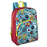 """Trail maker Kids Character Backpacks for Boys & Girls (15"""") with Adjustable, Padded Back Straps (Sports)"""