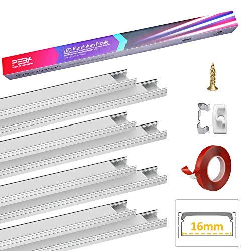 LED Profil,LED Aluminium Profil U-Form 8x1m,Led Schiene Breite16mm,Led Alu kanal mit Deckel in milchig-weiß,3M Klebstoff ,Metall Clips,Endkappen,Passend für Philips Hue LightStrip Plus PEBA