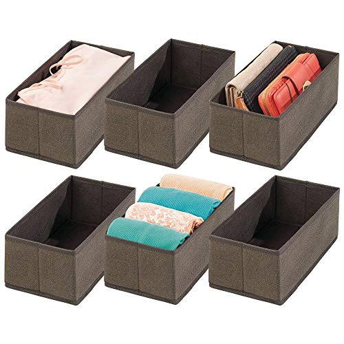 mDesign Juego de 6 cajas para guardar ropa – Organizador de armario para ropa, accesorios, joyas, etc. – Cajas de tela de fibra sintética transpirable con diseño de espiga – marrón