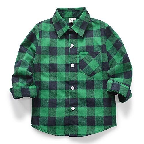 OCHENTA Boys' Button Down Flannel Plaid Shirt, Little Big Kids Long Sleeve Tops E013 Green Navy Tag 140CM - 6 Year
