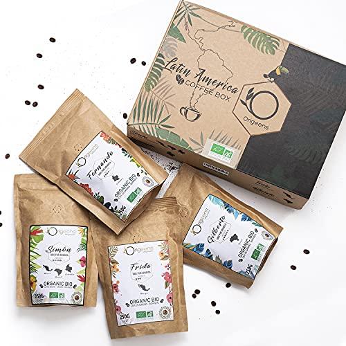 ORIGEENS BIO Kaffeebohnen Probierset 1kg   Premium Arabica Kaffee Ganze Bohnen Set 4x250g   Traditionelle Röstung   Säurearm   Geschenk-Idee
