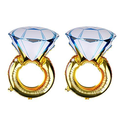 Colcolo 2X Globo de Aluminio Gigante con Forma de Anillo de Diamantes para Bodas de Cumpleaños