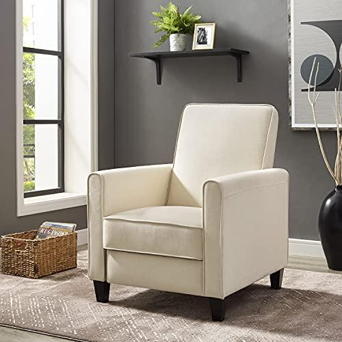 Naomi Home Landon Push Back Recliner Upholstered Club Chair Cream/Linen