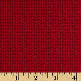Robert Kaufman 0404879 Shetland Flannel Houndstooth Fabric by The Yard, Red