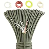 Survival Paracord Parachute Fire Cord Survival Cord Fire Paracord Tinder Fire Starter/PE Fishing Line/Cotton Thread 380LB Commercial Grade (ArmyGreen, 100 Feet)