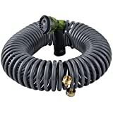 YESTAR Expandable 50FT Garden Coil Hose 3/4' Solid Brass Connector Flexible Water Hose with High Pressure 7-Pattern Spray Nozzle Compact Durable Easy to Storage Kink Free