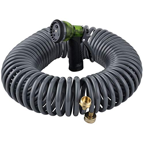 """YESTAR 75Ft Garden Coil Hose 3/4"""" Solid Brass Fittings Leak Proof Connector Flexible Water Hose with 7-Pattern Spray Nozzle Easy to Storage, Kink Free Compact and Durable"""