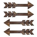 N/ A 4 letreros de madera rústica para decoración de pared, flechas de madera oscura, granja y...