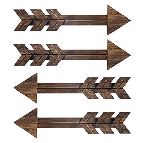 N/ A 4 letreros de madera rústica para decoración de pared, flechas de madera oscuras, casa de campo y decoración para el hogar o boda