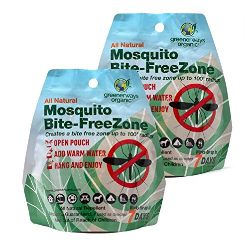 GREENERWAYS ORGANIC Mosquito Repellent Zone - Non-Toxic Organic Insect Repellent All Natural Outdoor Mosquito Pest Control, Bug-Free 24/7, DEET-Free Safe for Kids, Babies, Dogs (2 Pack Deal) $23.98