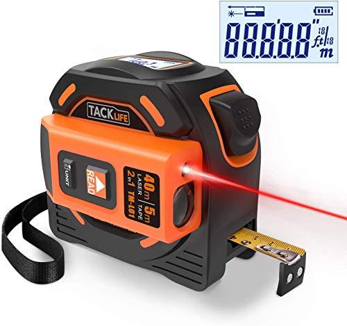 TACKLIFE TM-L01 2-in-1 Laser Tape Measure,131 Ft Laser Measure, 16 Ft Metric & Inches Tape Measure with LCD Digital Backlight Display,Laser Class: Class 2 (IEC/EN60825-1/2014) <1mW power output