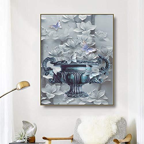 ganlanshu Leinwand Kunst Blumen und Schmetterling Kunst Poster Bild Moderne Wanddekoration Wohnzimmer,Rahmenlose Malerei,40x50cm