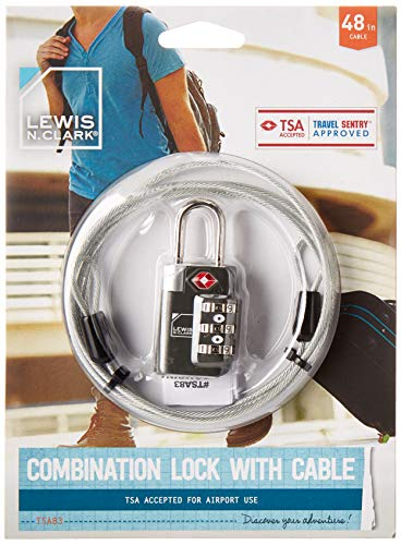 Lewis N Clarks Travel Sentry Combination Lock mit Cable, Black Gepäckschloss, Schwarz