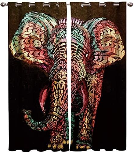 LUOWAN Tende Oscuranti Bambini Microfibra - 280x245 cm - Astratto arte animale elefante - 95% Tenda oscurante Risparmio Energetico Moderne per cucina camera Letto Soggiorno Hotel