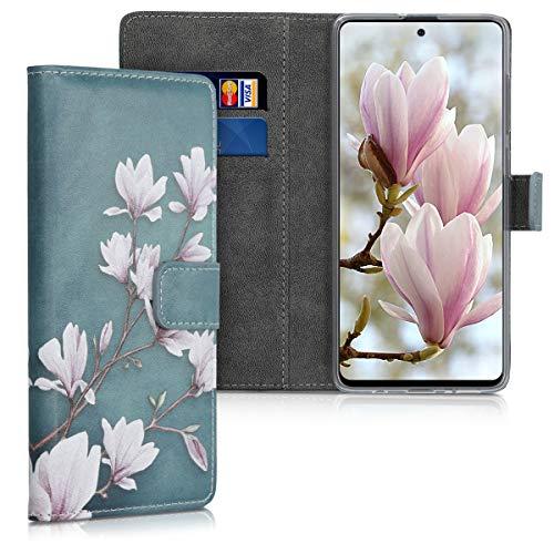 kwmobile Funda Compatible con Samsung Galaxy A71 - Carcasa de Cuero sintético Magnolias - con Tarjetero