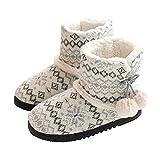 Rojeam Zapatillas de Estar por Casa para Unisexo Botas de Casa Invierno Pantuflas Peluche Cerradas