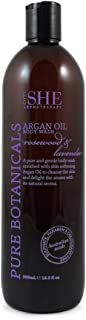 OM SHE Aromatherapy Argan Oil Body Wash, Rosewood & Lavender 500ml Vegan Friendly - Cruelty Free - No Harsh Chemicals