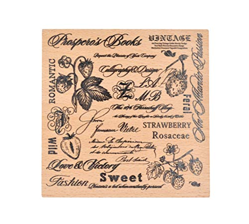 Cliocoo Plants Background Wood Rubber Stamp Set M-42 (Strawberry) Background Mounted Rubber Stamp