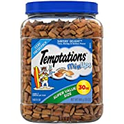TEMPTATIONS MixUps Crunchy and Soft Cat Treats, Surfer's Delight Flavor, 30 oz. Tub