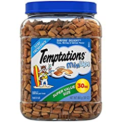 Contains one (1) 30 oz. Super value tub of Temptations mix-ups cat Treats Surfers' delight: Tuna, shrimp, or salmon Flavor Even the pickiest cats can't wait to get their paws on these tasty cat snacks that are crunchy on the outside and soft and scru...