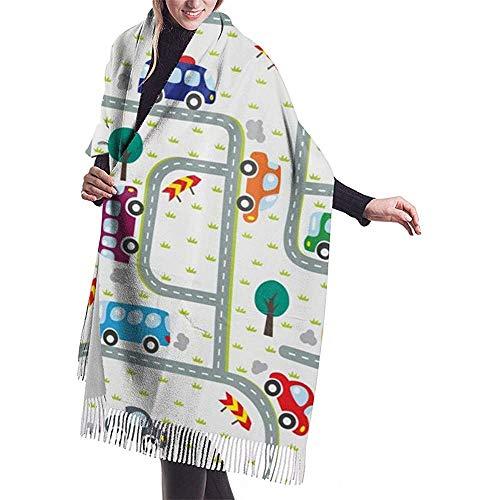 Cathycathy Autos fahren auf den Straßen Ampeln Schal Leichte Unisex Mode Weiche Schals Fransen Schal Wrap