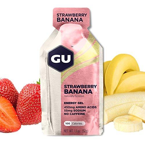 GU Energy Original Sports Nutrition Energy Gel, Strawberry Banana, 24-Count Box