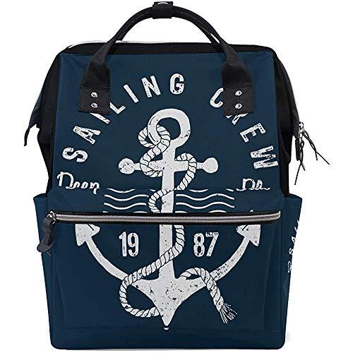 Backpack an-Chor Diaper Grande Capacité Bébé Sacs Sac À Dos Multifonction Unisexe 28X18X40Cm Zipper Voyage Casual Sacs À Dos Maman Papa