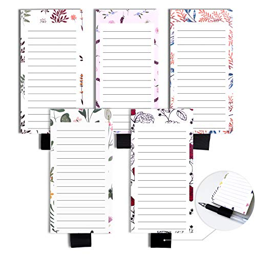 Magnetic Notepads with Pen Holder, Magnetic To Do List Notepads, Full Magnetic Back Magnet Memo Pad,5 Pack (6 x 3 Inches)