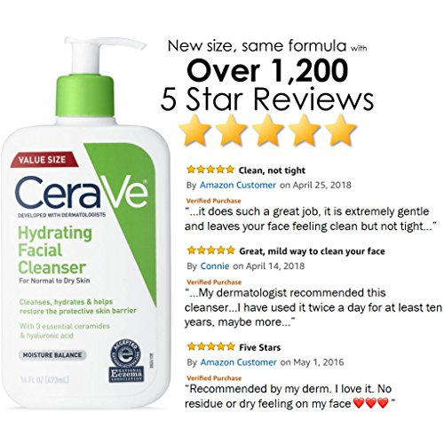 CeraVe Hydrating Facial Cleanser   Moisturizing Non-Foaming Face Wash with Hyaluronic Acid, Ceramides & Glycerin   16 Fluid Ounce