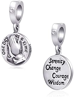 Praying Hands Charms 925 Sterling Silver Love Prayer Dangle-Serenity Change Courage Wisdom Charms fits Pandora Style Bracelet, Gifts for Mothers Day/Thanksgiving