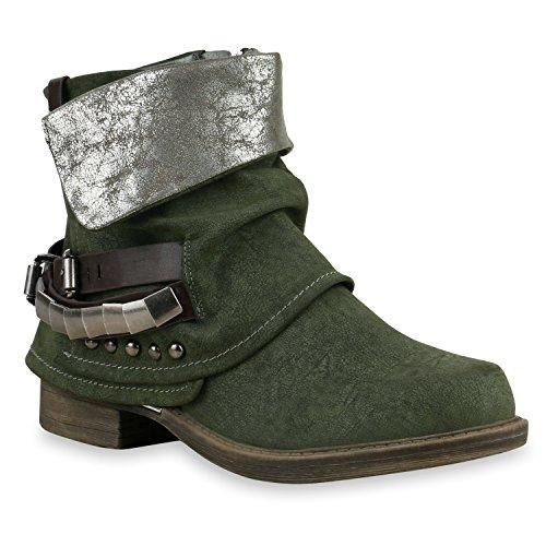 Damen Stiefeletten Biker Boots Schnallen Nieten Knöchelhohe Stiefel Leder-Optik Schuhe 126296 Dunkelgrün Braun 37 Flandell