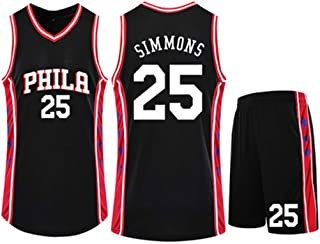 Basketball Clothing Suit Philadelphia 76Ers 25# Ben Simmons Jersey Sleeveless Vest Sports Shorts Suit Training Competition Casual Sweatshirt,Black,2XS