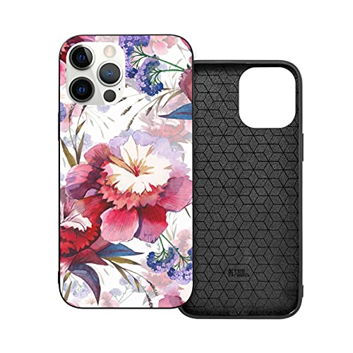 Watercolor Beautiful Colorful Peony Flowers Corner Shockproof Phone Case Compatible for Phone 12 Series with Soft Silicone Edge Anti Scratch Phone Case - IP12