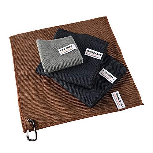CAFEMASY Barista Mikrofaser Handtuch Set - Schnelltrocknend 4 Stück Mikro-Reinigungstuch mit Haken zum Reinigen des Dampfstabs und der Espressomaschine